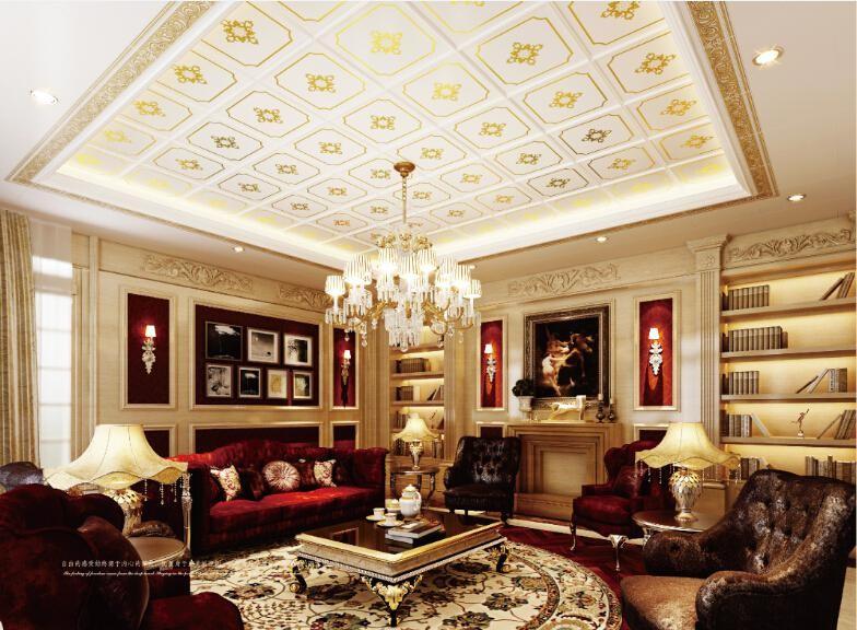 在家具方面,一套暗红色的复古沙发,棕色实木餐桌椅是欧式风格必不可少